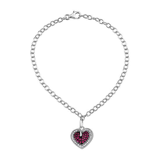 Simulated Red Ruby Sterling Silver Heart Charm Bracelet