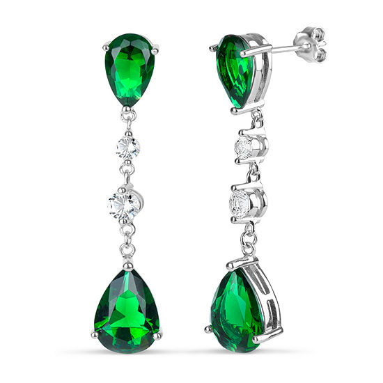 Simulated Green Emerald Sterling Silver Pear Drop Earrings