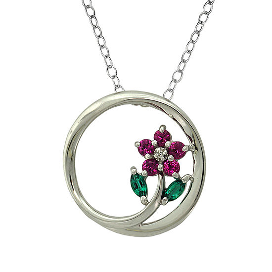 Womens Lab Created Green Emerald Sterling Silver Round Pendant