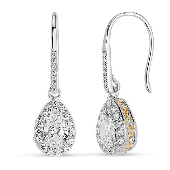 Lab Created White Sapphire 18K Gold Over Silver Sterling Silver Pear Drop Earrings