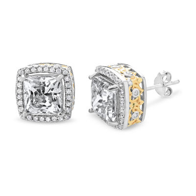 Lab Created White Sapphire 10.6mm Square Stud Earrings