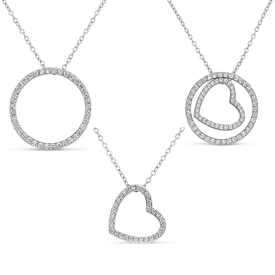 Womens Lab Created White Sapphire Sterling Silver Heart Pendant Necklace