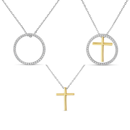 Womens Lab Created White Sapphire 18K Gold Over Silver Sterling Silver Cross Pendant Necklace