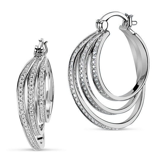 Lab Created White Sapphire Sterling Silver 25.3mm Round Hoop Earrings