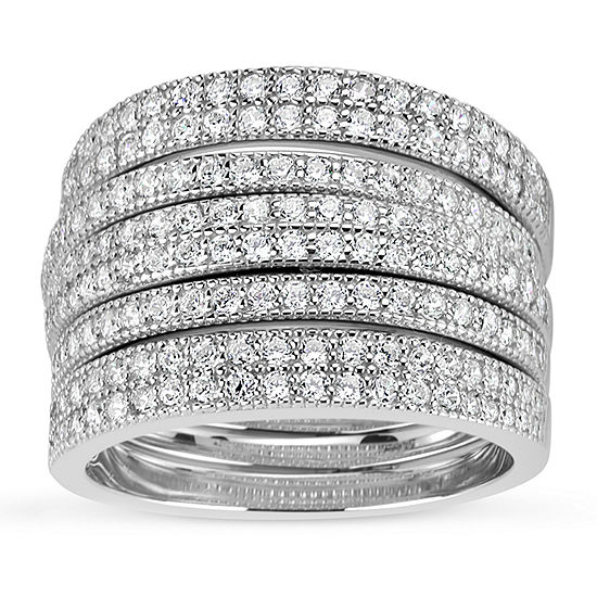 Womens 3mm Lab Created White Sapphire Sterling Silver Band