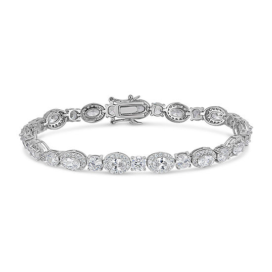 Lab Created White Sapphire Sterling Silver Oval 7.5 Inch Tennis Bracelet