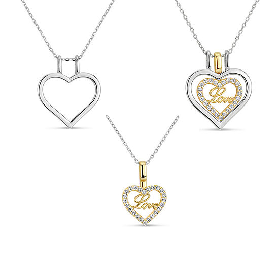 Womens Lab Created White Sapphire 18K Gold Over Silver Sterling Silver Heart Pendant Necklace