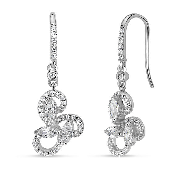 Lab Created White Sapphire Sterling Silver Flower Drop Earrings