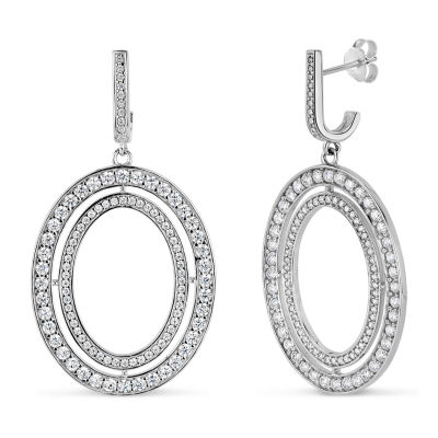 Lab Created White Sapphire Sterling Silver Oval Drop Earrings