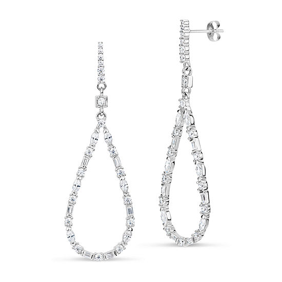 Lab Created White Sapphire Sterling Silver Pear Drop Earrings