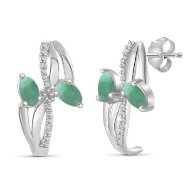 Diamond Accent Genuine Green Emerald Sterling Silver 3-pc. Jewelry Set