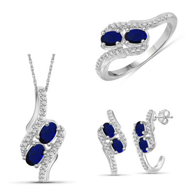 Diamond Accent Genuine Blue Sapphire Sterling Silver 3-pc. Jewelry Set