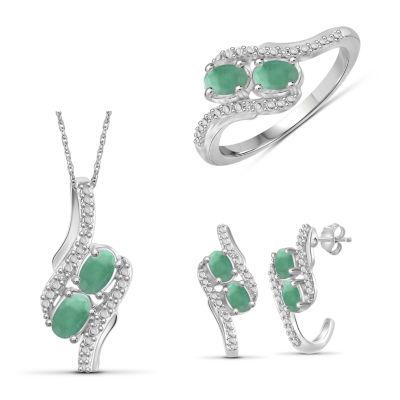 Diamond Accent Genuine Green Emerald 3-pc. Jewelry Set