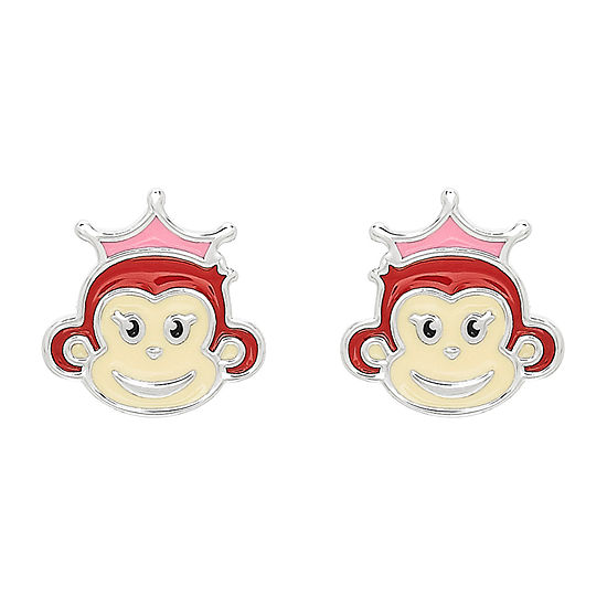 Nana's Crazy Monkeys Children'S Sterling Silver 8.8mm Stud Earrings
