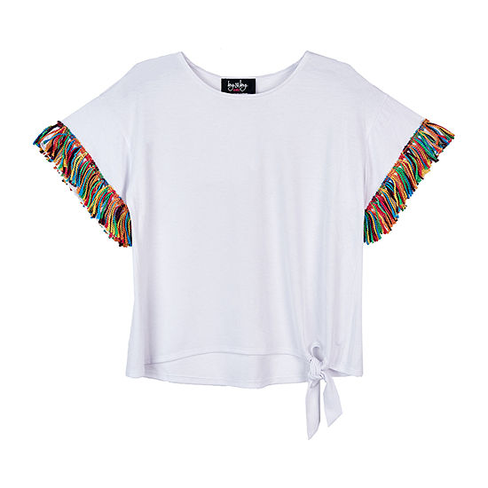 by&by girl Girls Crew Neck Short Sleeve Blouse Big Kid