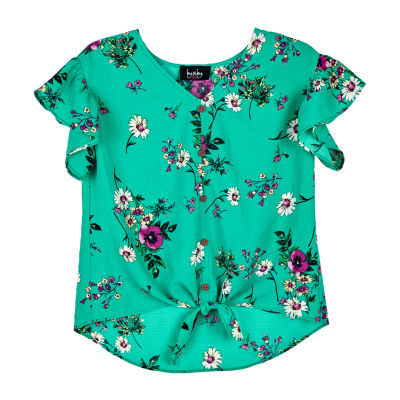 by&by girl Girls Scoop Neck Short Sleeve Blouse