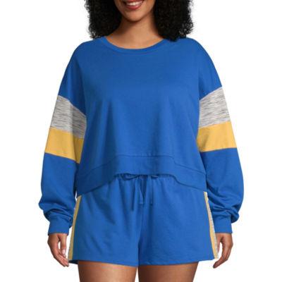 Flirtitude Womens Crew Neck Long Sleeve Sweatshirt Juniors Plus