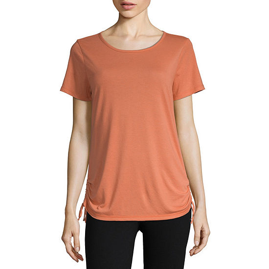 St. John's Bay Active-Womens Round Neck Short Sleeve T-Shirt Petite
