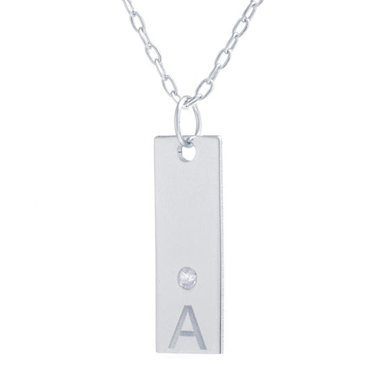 Silver Treasures Cubic Zirconia Sterling Silver 16 Inch Cable Initial Pendant Necklace