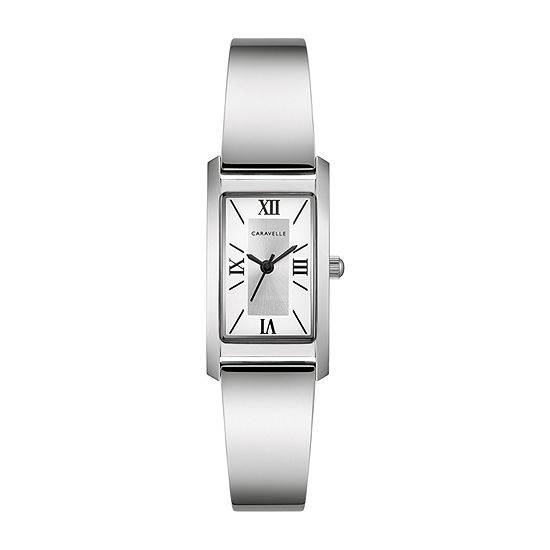 Caravelle Designed By Bulova Womens Silver Tone Stainless Steel Bangle Watch-43l221