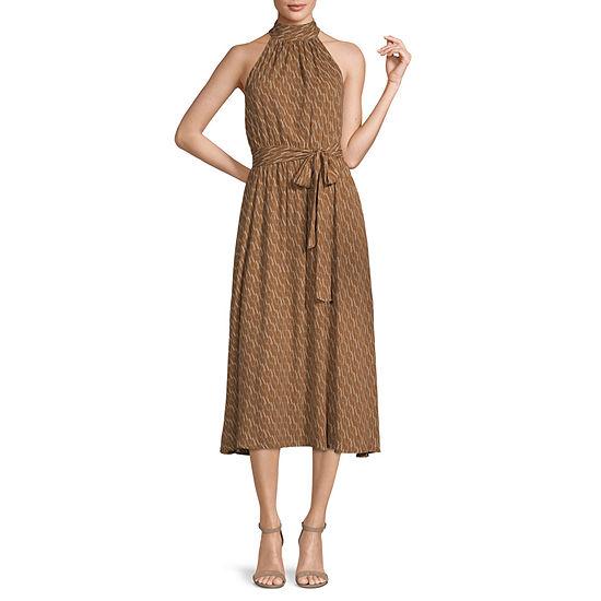 Worthington Sleeveless Geometric Midi A-Line Dress