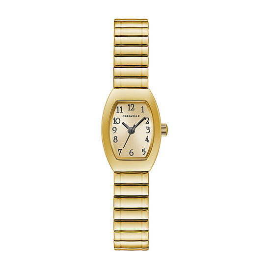 Caravelle Designed By Bulova Womens Gold Tone Stainless Steel Expansion Watch-44l261