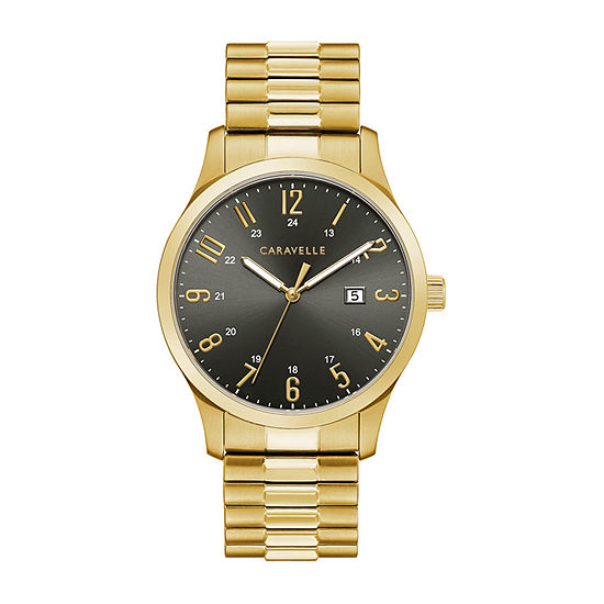 Caravelle Designed By Bulova Mens Gold Tone Stainless Steel Expansion Watch-44b126