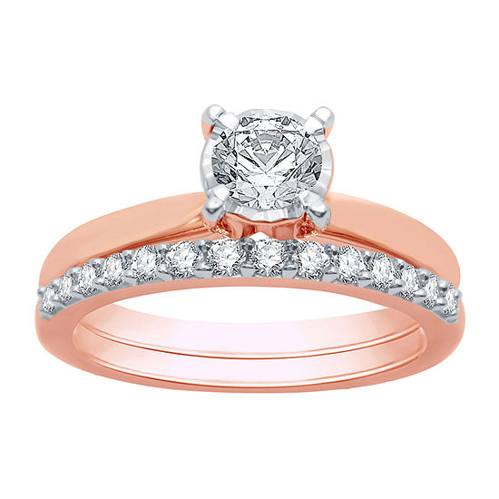 Womens 1 CT. T.W. Genuine White Diamond 10K Rose Gold Solitaire Bridal Set