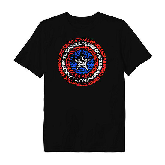 Disney Little & Big Boys Round Neck Captain America Short Sleeve Graphic T-Shirt