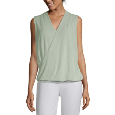 Liz Claiborne Studio Womens V Neck Sleeveless Wrap Shirt