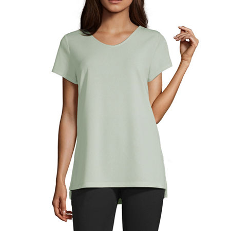 Liz Claiborne Studio-Womens V Neck Short Sleeve T-Shirt, X-small , Green