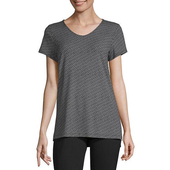 Liz Claiborne Studio Womens V Neck Short Sleeve T-Shirt
