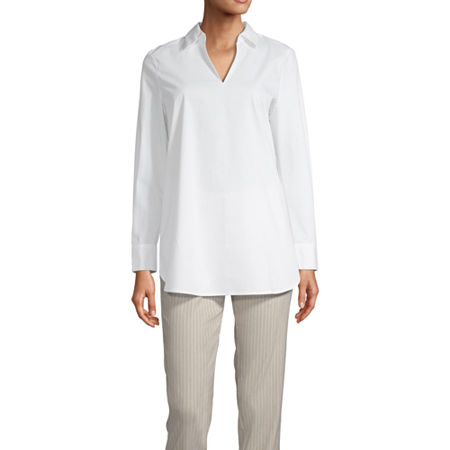Worthington Womens Long Sleeve Tunic Top, X-small , White