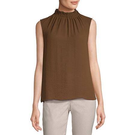 Worthington Womens High Neck Sleeveless Tank Top, Small , Brown