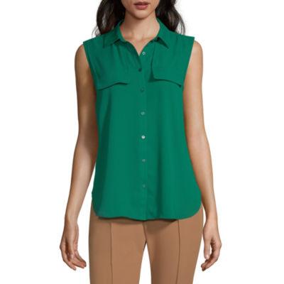 Worthington Womens Sleeveless Regular Fit Button-Down Shirt