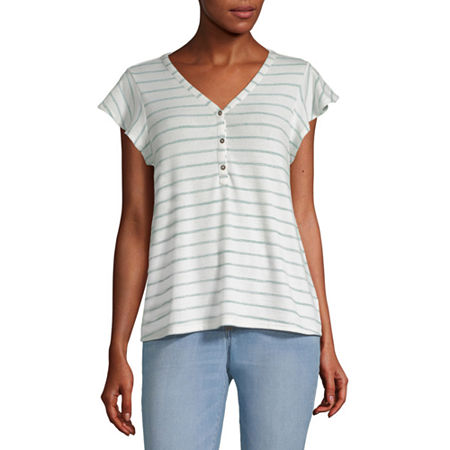 a.n.a-Womens V Neck Short Sleeve T-Shirt, Medium , White