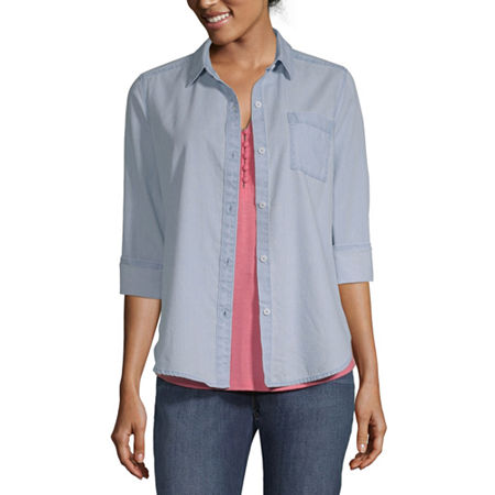 Liz Claiborne Simply Womens Long Sleeve Regular Fit Button-Down Shirt, X-small , Blue