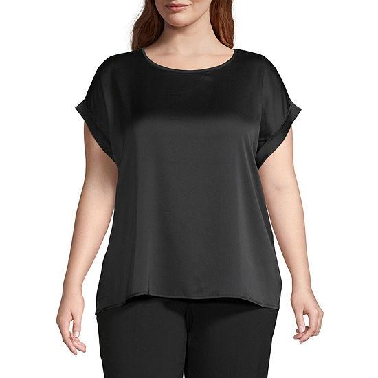 Worthington Womens Short Sleeve Knit Woven Dolman - Plus