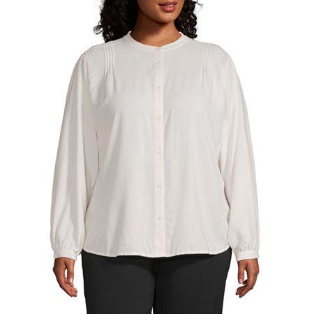 Worthington Womens Volume Sleeve Top - Plus, 0x , White