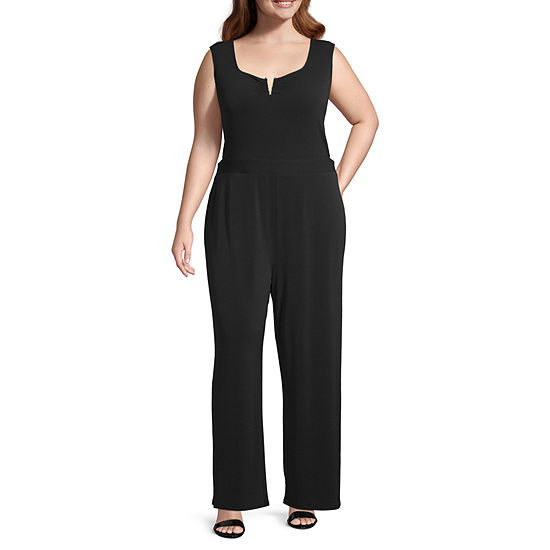 Bold Elements Womens Sleeveless Cut Out Jumpsuit - Plus