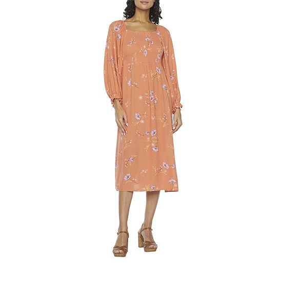 a.n.a 3/4 Sleeve Midi Peasant Dress-Tall