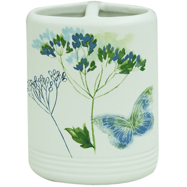Bacova Indigo Wildflowers Toothbrush Holder