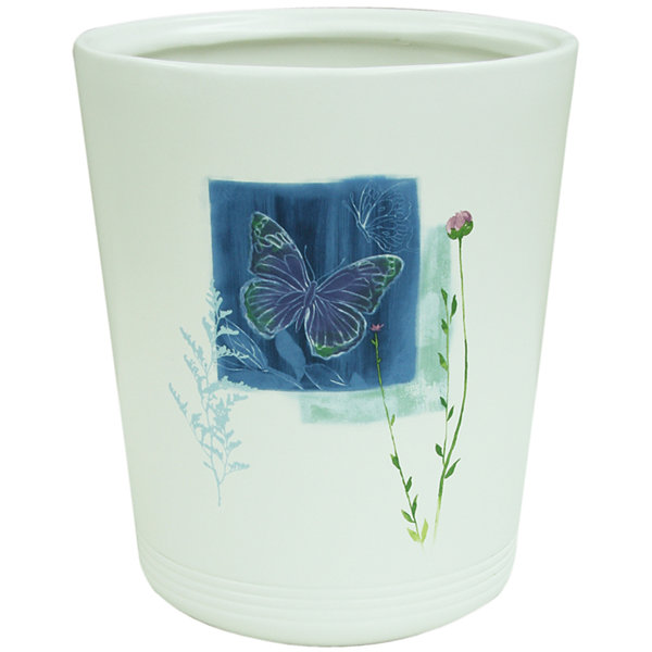 Bacova Indigo Wildflowers Wastebasket