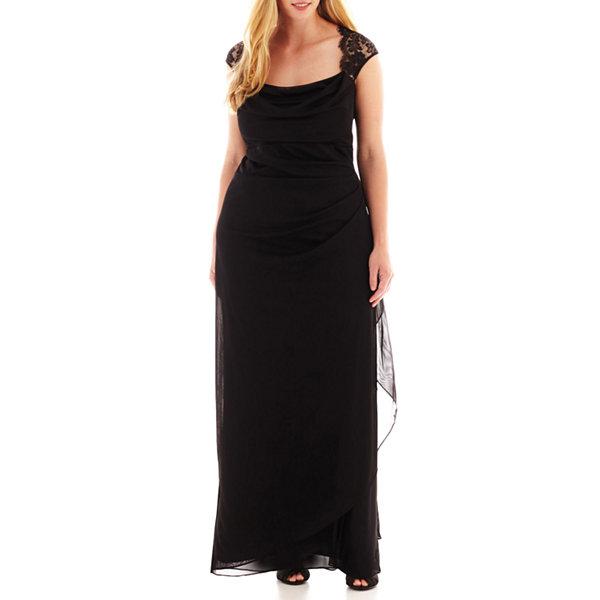 Scarlett Sleeveless Faux-Wrap Lace Trim Gown - Plus-JCPenney