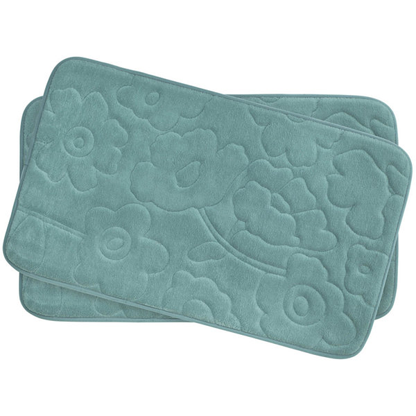 "Bounce Comfort Stencil Floral Memory Foam 17x24"" 2-pc. Bath Mat Set"