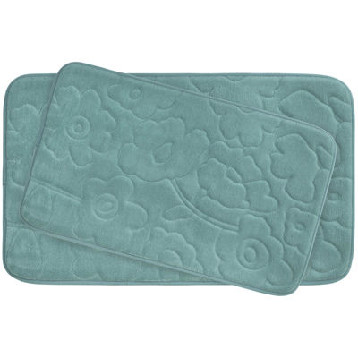Bounce Comfort Stencil Floral Memory Foam 2-pc. Bath Mat Set