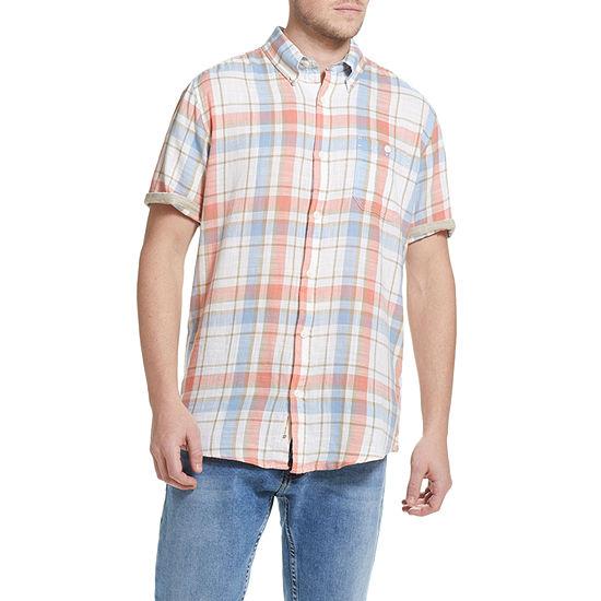 American Threads Mens Short Sleeve Plaid Button-Down Shirt
