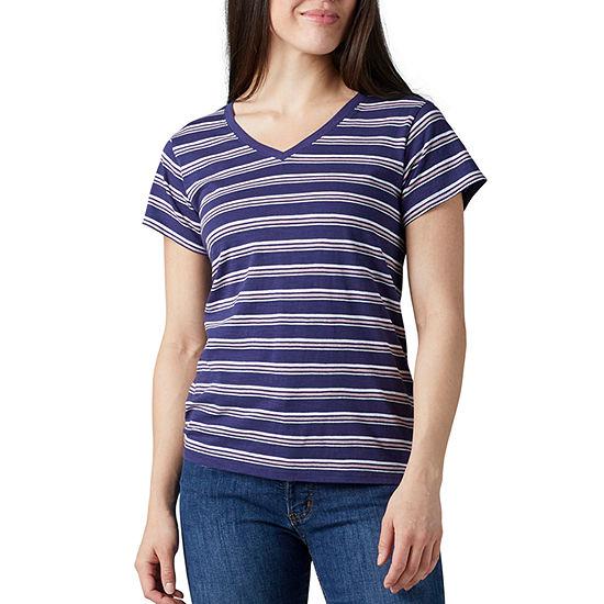 Dickies-Womens V Neck Short Sleeve T-Shirt
