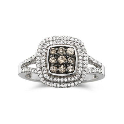 1/2 CT. T.W. White & Champagne Diamond Statement Ring