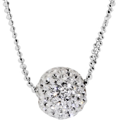 Sterling Silver Crystal Ball Double-Chain Pendant Necklace